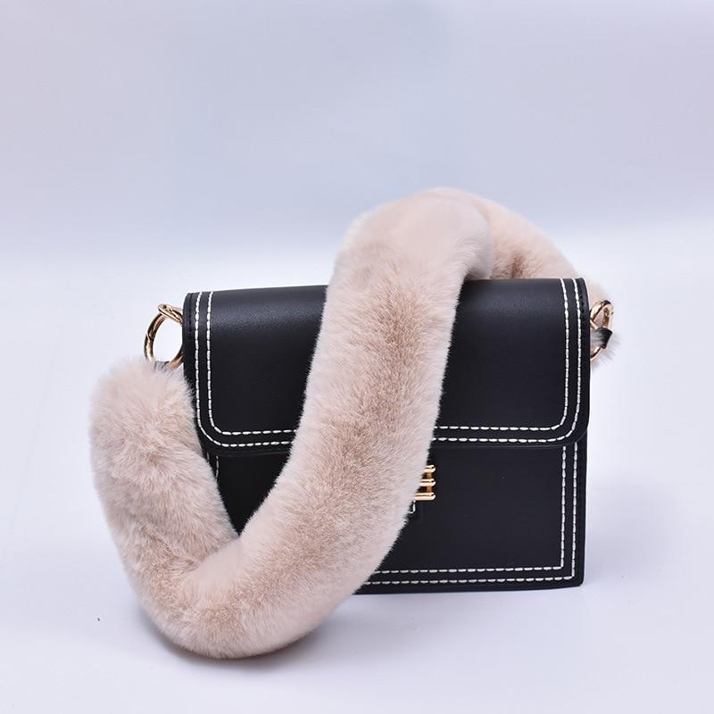 40cm Replacement Bag Strap Faux Rabbit Fur Handbag Should Handle For Women Purse Belts Charm Winter Accessories BS004