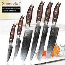 SUNNECKO-cuchillo de Santoku para cortar pan, Chef Damasco, cuchillo japonés VG10, hoja de acero, cuchillos de cocina, mango de madera Pakka