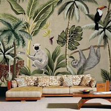 Milofi sudeste asiático toucan macaco mural papel de parede sala de estar pintados à mão papel de parede personalizado 3d mural papel de parede