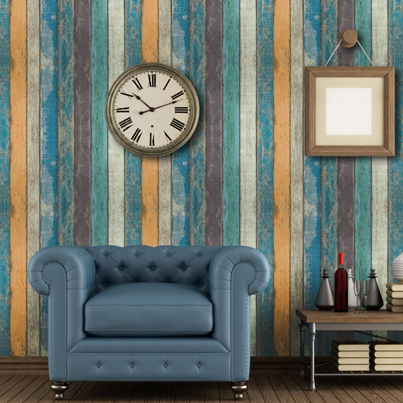 Vintage Wood, White Brick Paint Waterproof Vinyl Decorative Film Adhesive Wallpaper Wall Stickers Kitchen Furniture Stickers