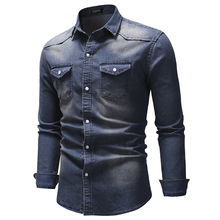 AIOPESON High Quality Long Sleeve Denim Shirt Men Spring Solid Color Cotton Jeans Shirt for Men Casual Spring Men's Shirts
