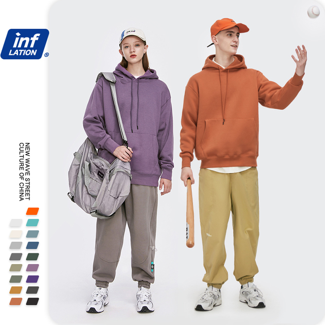 INFLATION Men Solid Color Soft Sweatshirt Set 2020 Winter Warm Fleece Fabric Tracksuit Couple Sweatpant Set Mens Clothing