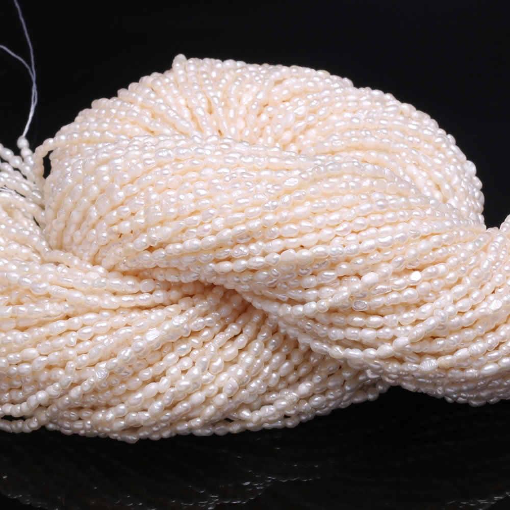 لؤلؤ مستزرع في الماء العذب الخرز AA حبات صغيرة لكمة فضفاض الخرز لصنع المجوهرات عقد دي اي واي سوار 2-2.3 مللي متر