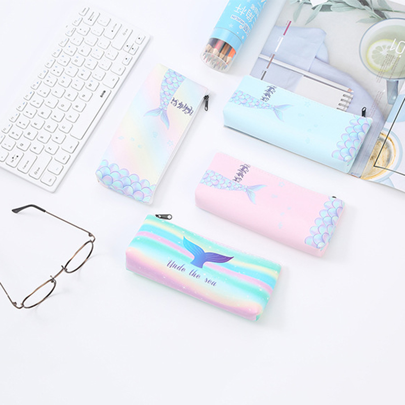 PU Leather Color Pencil Case For Girls School Big Capacity Pencil Bag Pencilcase School Supplies Stationery Gifts
