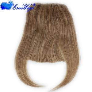 Image 4 - #27 Color Brazilian Human Hair Clip in Hair Bang Full Fringe Short Straight Hair Extension for women 6 8inch