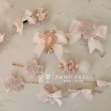 Cherry Blossom Powder Bow Hair Accessories Cherry Blossom Pink Lolita Side Clip Hair Clip Harajuku Cute Bangs Clip