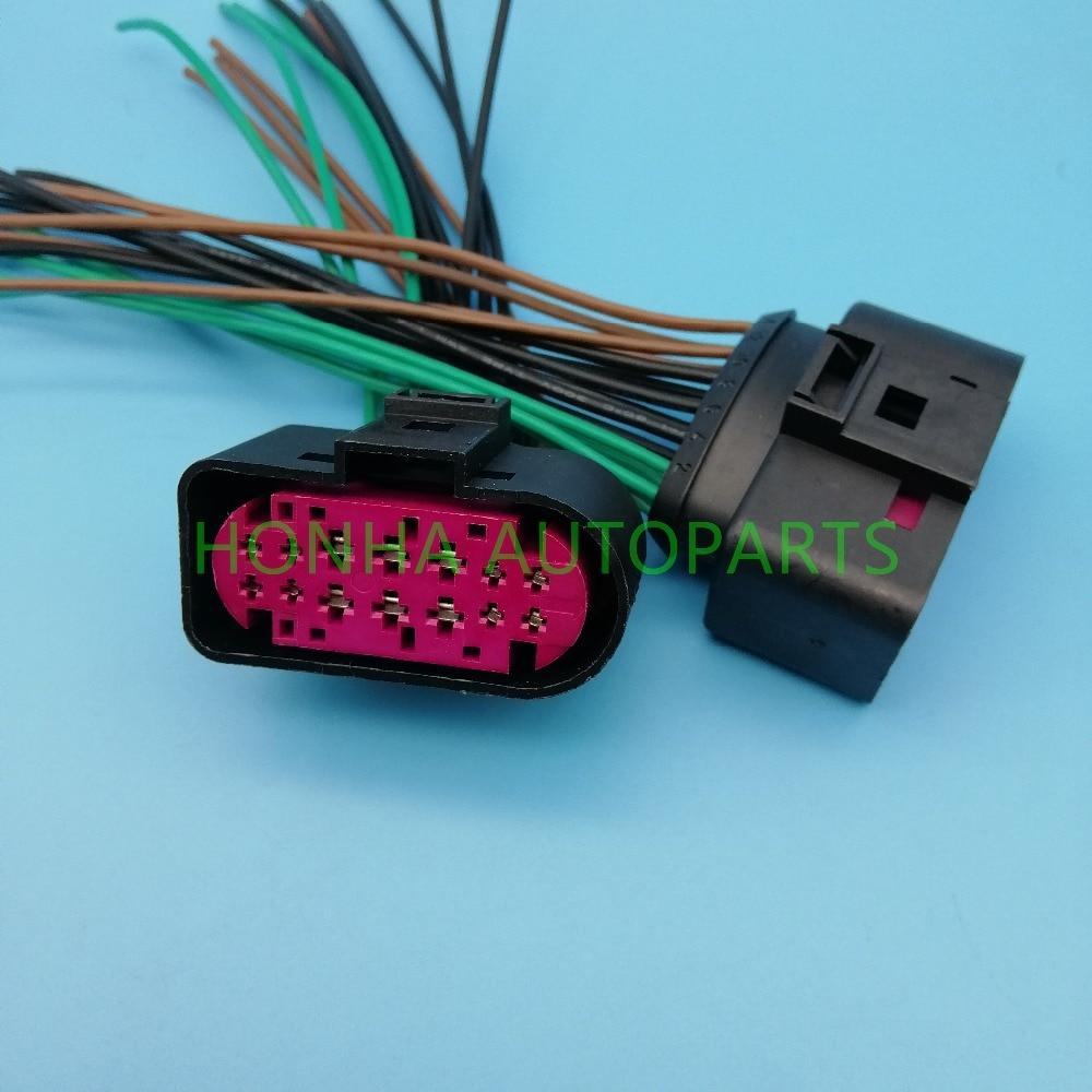 Бесплатная доставка 14 pin 1,5 мм 3,5 мм ксеноновые фары штепсельная вилка водонепроницаемая лампа-розетка разъем с проводом Pigtail Adatper 1J0 973 737