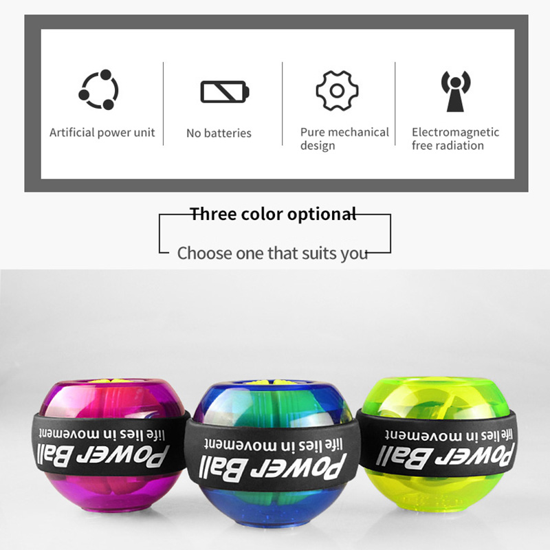 Fitness LED Wrist Ball Trainer Relax Gyroscope Arm Exerciser Power Exercise Ball Gym Equipment High Quality Power Ball Gyro