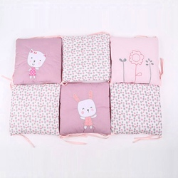 6Pcs Newborn Baby Cotton Anti-collision Baby Bed Protector New Crib Embroidered Rabbits Bedding Bumper