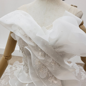 Image 3 - HTL1398 V Neck Wedding Gowns Applique Mermaid Wedding Dress Illusion Bride Dress Bohemian Pearl свадебное платье русалка
