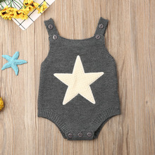 Summer 0-18M Newborn Infant Baby Boy Girl Knitted Romper Sleeveless Jumpsuit Outfits Clothes