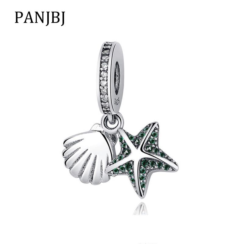 Nouveau Original 925 perle en argent Sterling étoile de mer tropicale coquille de mer balancent breloque pendentif Pandora Bracelet collier bricolage femmes bijoux