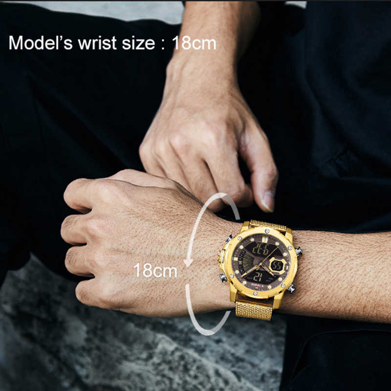 Naviforce メンズスポーツウォッチラグジュアリーゴールドクォーツ鋼のストラップ防水軍事デジタル腕時計時計レロジオ masculino 2020