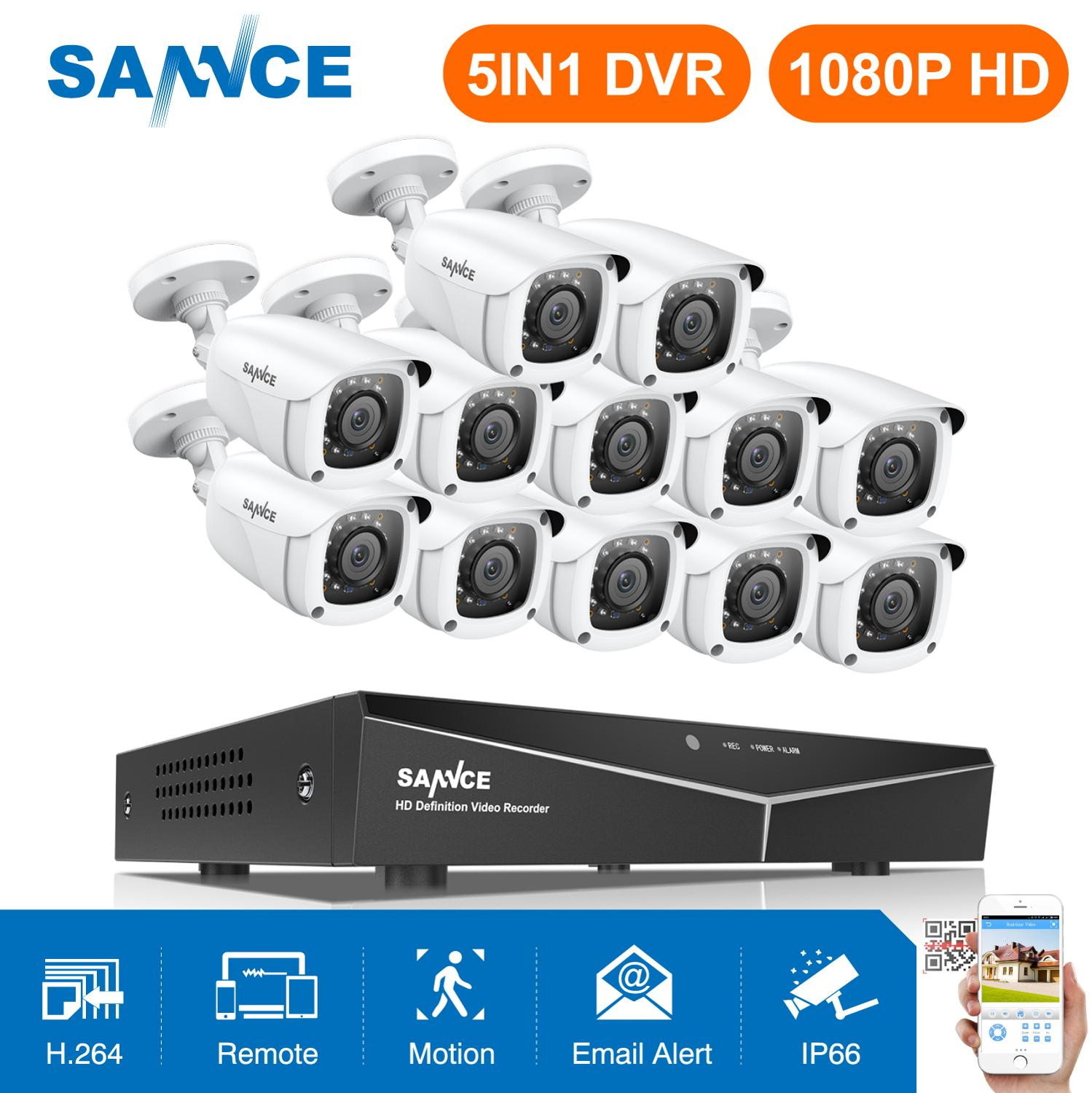 SANNCE 16 Channels CCTV Security System 16CH HD 1080P DVR 12PCS 1920*1080P IR Outdoor Cameras 2.0MP Video Surveillance Kit