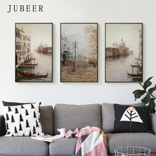 Water City Landscape Canvas Paintings Modular Pictures Wall Art for Living Room Decoration No Framed Posters and Prints