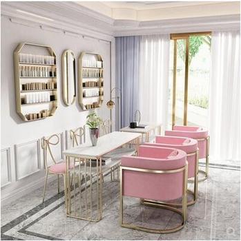 Nordic podwójny marmurowy stół do malowania paznokci i zestaw krzeseł internetowi celebryci złoty pojedynczy i dla dwóch osób stół do malowania paznokci i żelaza art sofa krzesło tanie i dobre opinie CN (pochodzenie) Salon mebli Stół paznokci Meble sklepowe