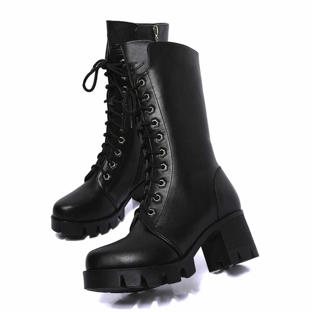 Moda çapraz bağlı orta buzağı çizmeler kadın ayakkabıları kış sıcak kare topuk motosiklet botları kaymaz nefes kışlık botlar kadın