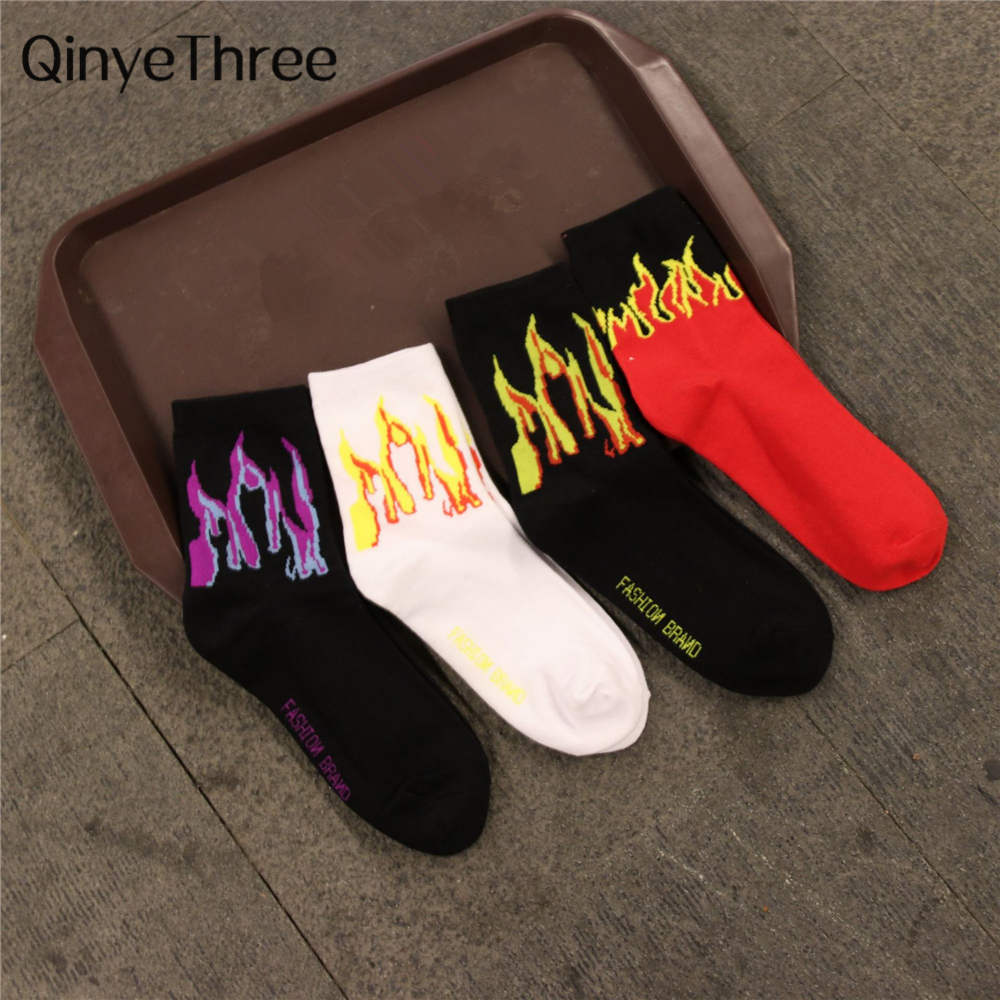 Men Fashion Hip Hop Hit Color On Fire Crew Socks Red Flame Blaze Power Torch Hot Warmth Street Skateboard Cotton Socks Dropship