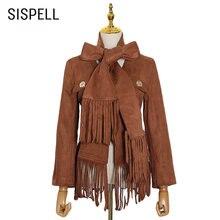 Женское пальто с кисточками sispell повседневное v образным