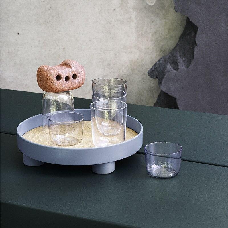 Скандинавский круглый лоток для хранения, настольный органайзер для посуды, еды, косметики, разная тарелка, кухонный поднос для сервировки, украшение для дома-1
