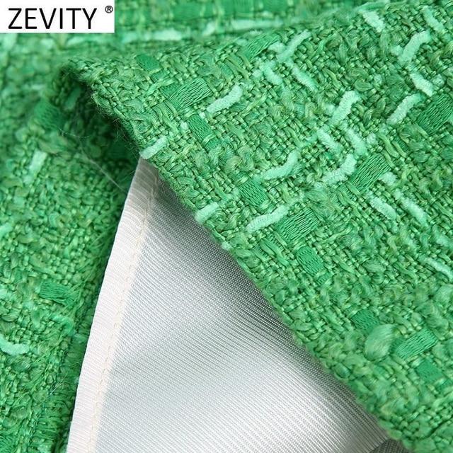 Zevity New Women Fashion Green Color Tweed Woolen Bermuda Shorts Skirts Lady Side Zipper Chic Casual Slim Pantalone Cortos P1024 6