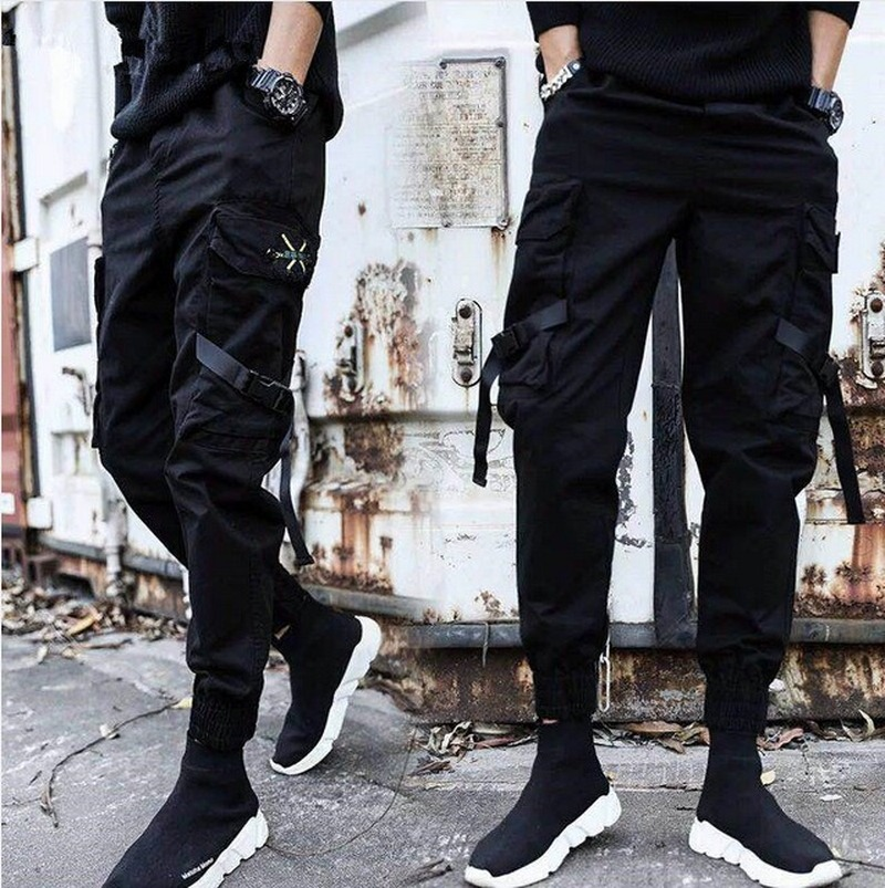 Streetwear Ribbons Casual Pants Men Black Slim Men's Joggers Pants Side-pockets Cotton Man Trousers Cargo Pants Men 2019 SA-8