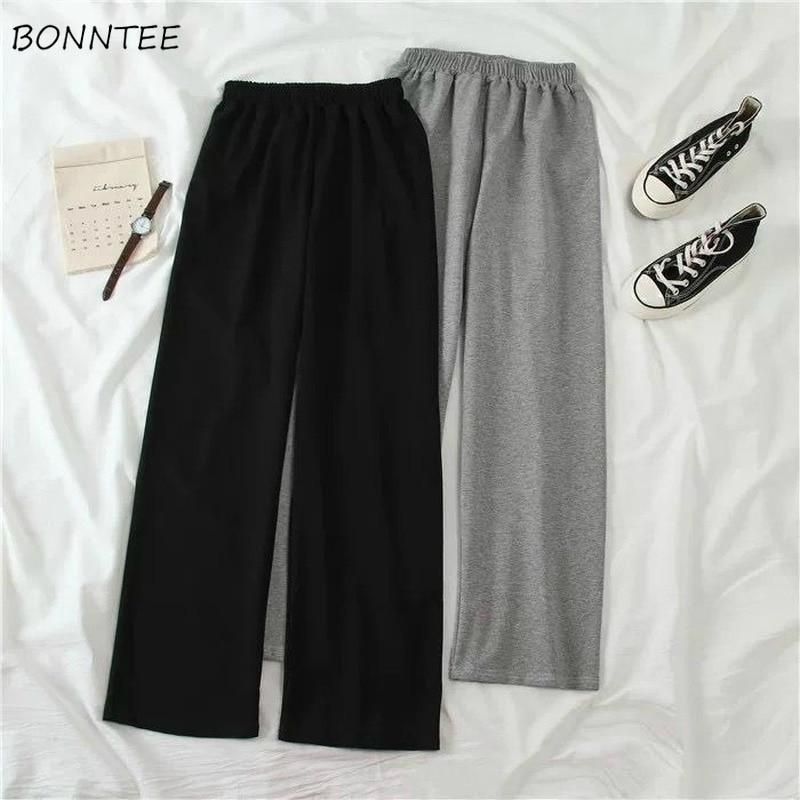 Wide Leg Pants Women Solid Oversize Korean Elastic High Waist Slim Leisure All-match Sweatwear Girls Pant Minimalist Soft 5XL