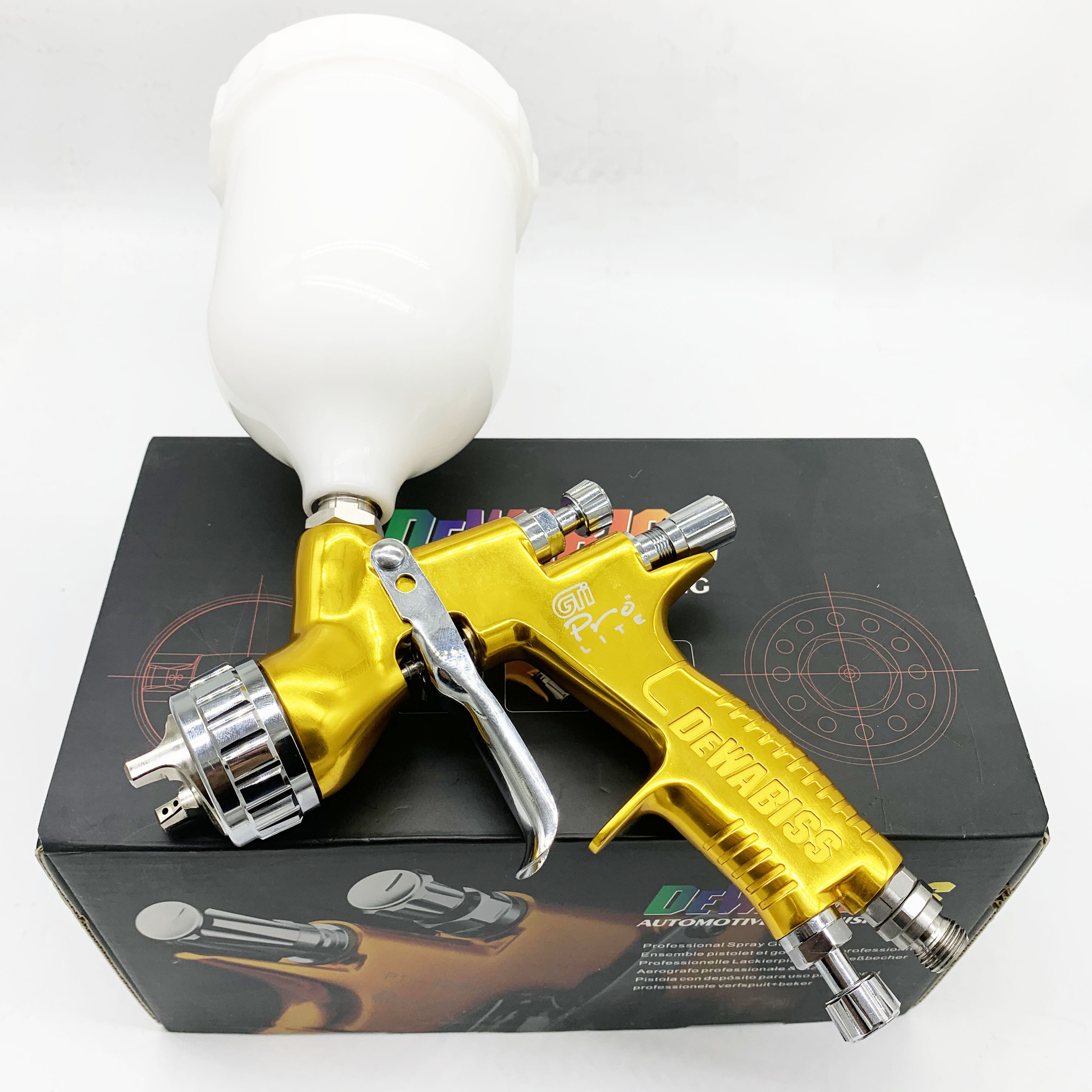 Dewabiss GTI Spray Paint Gun TE20 Pro Lite Airbrush Car Airless Painting 1.3mm Nozzle Sprayer For Water Base Free Fitting