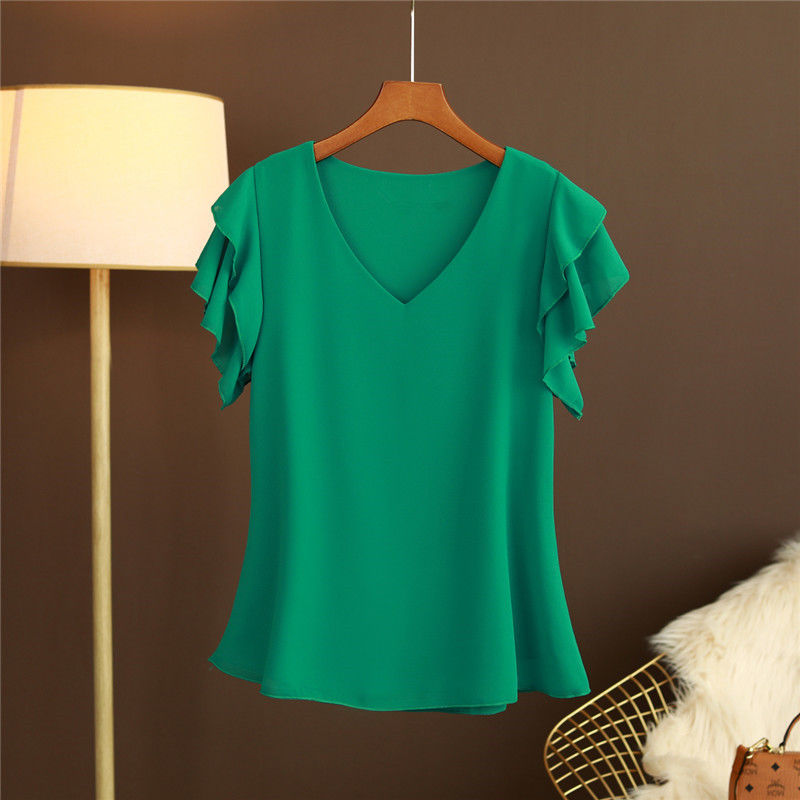 2021 New Fashion Women's blouse Tops Summer Short sleeve Chiffon shirt Solid V-neck Casual blouse Plus Size 5XL Loose Female Top 5