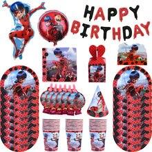 Joaninha festa suprimentos conjunto caixa de guardanapos pratos toalha de mesa copos facas garfos colheres menina festa de aniversário decoração crianças