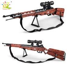 Huiqibao 653 pçs 98k rifle modelo com espuma bala bloco de construção técnica militar arma tijolos cidade jogo arma brinquedo para crianças