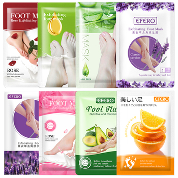 EFERO 16pcs 8pack Exfoliating Foot Mask Pedicure Socks Foot Patch Whitening Foot Mask Peel Feet Mask for Legs Peeling Dead Skin недорого
