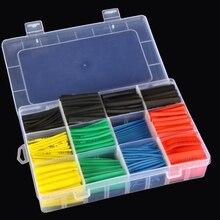 Соединители 530 шт., автомобильные электрические кабельные трубки, комплекты, термоусадочные трубки, трубки, обёрточная муфта, 8 размеров, смешанные цвета, проводные соединения