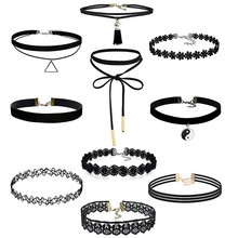 Crystal Jewelry Necklace-Set Choker Gothic Women Velvet 10pieces Tattoo Stretch Classic