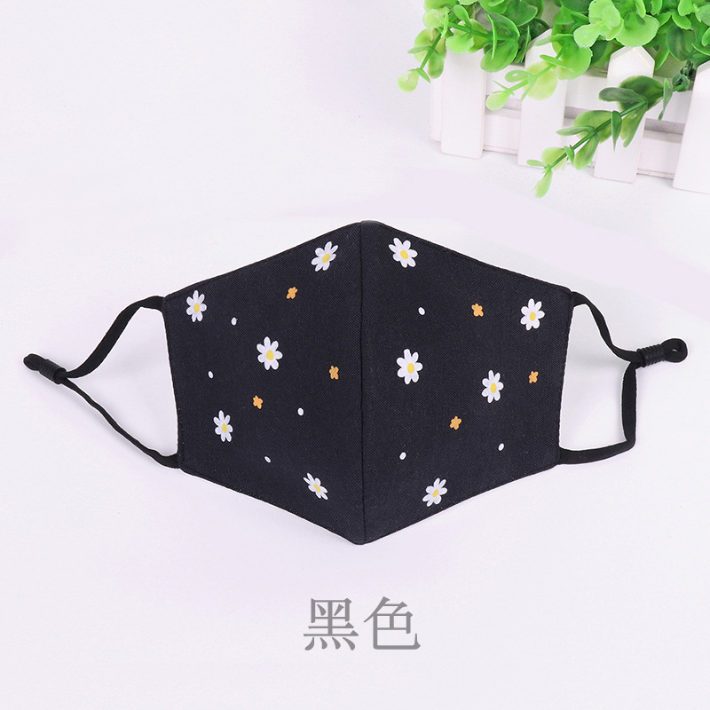 1Pc Cotton Warm Thickening Half Face Mouth Mask Cotton Flower PrintPattern Anti-Dust Anti-Bacterial Respirator Classic Black