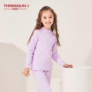 Image 3 - THREEGUN KIDS длинное термобелье; Детские Зимние хлопковые мягкие подштанники для мальчиков и девочек; одежда для сна с высоким воротом