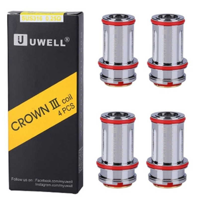 Brand New Hot Sale 4pcs  Crown III Replacement Coils Replacement Coils Tank Coil 0.25ohm 0.4ohm 0.5ohm Crown III 3 Metal