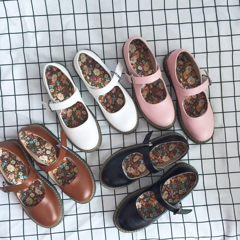 Japanese student sweet lolita shoes kawaii girl jk uniform cosplay kawaii shoes vintage round head women shoes loli cos
