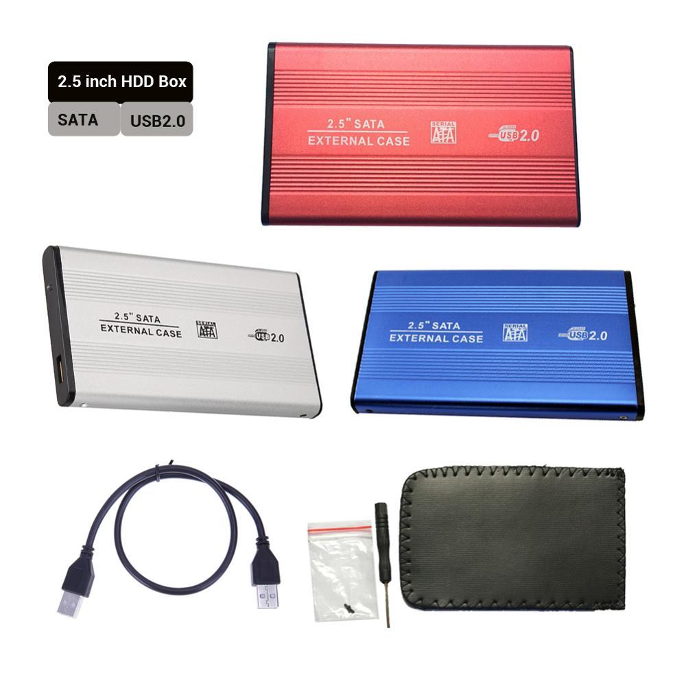 2.5 Inch USB 2.0 SATA HDD Case SSD Box External Mobile Hard Disk Drive Box 2.5'' Usb Sata Enclosure Case Aluminum Alloy Shell