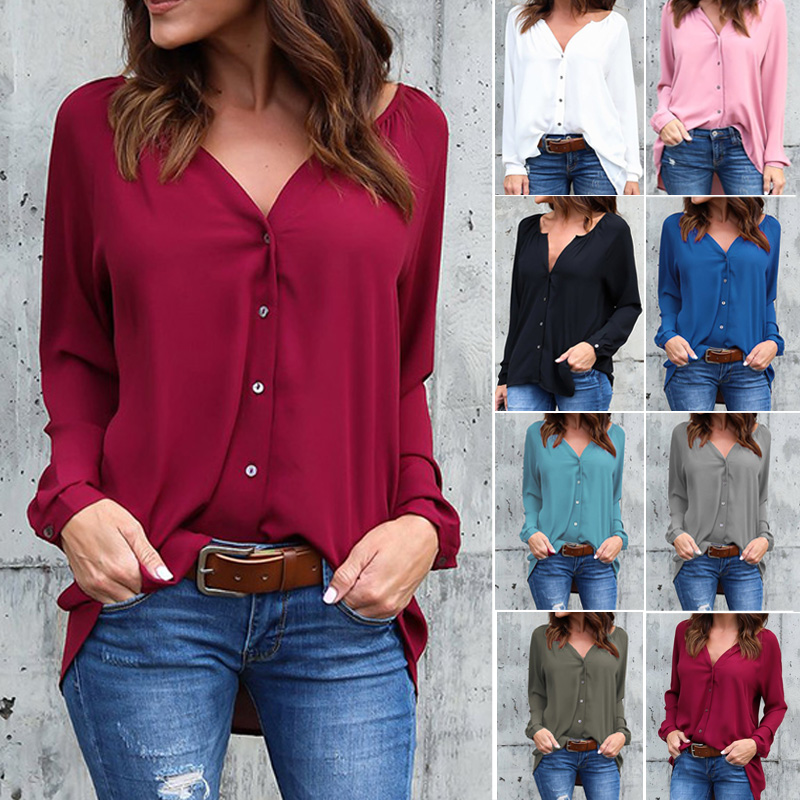 2019 Fashion Autumn Loose Button Long Sleeve V Neck Chiffon Blouse Plus Size Women Shirts Hots Solid Blouse Office Lady Tops