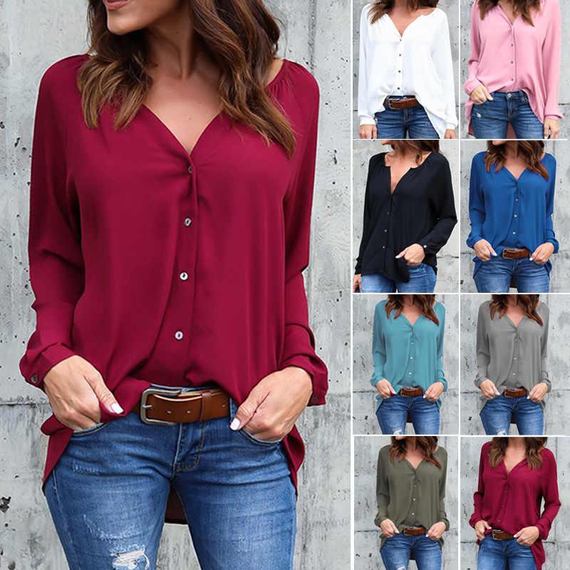2019 moda jesień luźne przycisk długi rękaw, dekolt V szyfonowa bluzka Plus size kobiet koszule Hots stałe bluzka biuro topy damskie