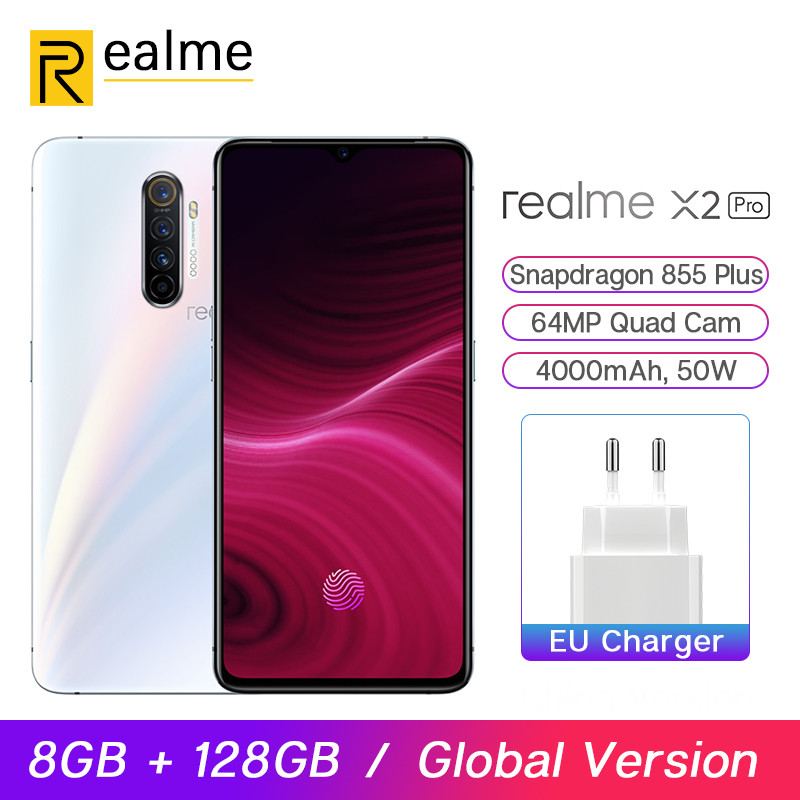 Global Version Realme X2 Pro Snapdragon 855 Plus Mobile Phone 8GB 128GB 6.5'' 64MP Quad Cam 90Hz Display NFC 50W VOOC Smartphone