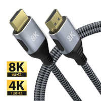 HDMI cable compatible con 4K 60 HZ/120HZ HDTV de alta velocidad 8K 60 HZ/120hz UHD HDR 48Gbps cable Ycbcr4:4:4 Convertidor para PS4 proyectores
