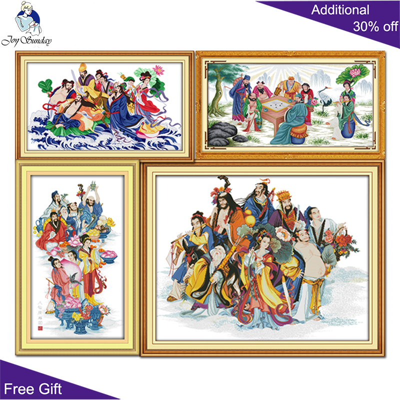 Joy Sunday R253 R254(1) R254(2) R288 Counted and Stamped Home Decor The Eight Immortals Chinese Cross Stitch Needlework image