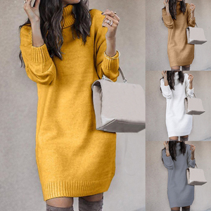 Korea Style Women Solid Color Turtleneck Long Sleeve Casual Loose Knitted Sweater Dress Casual Warm Autumn Women's Sweater