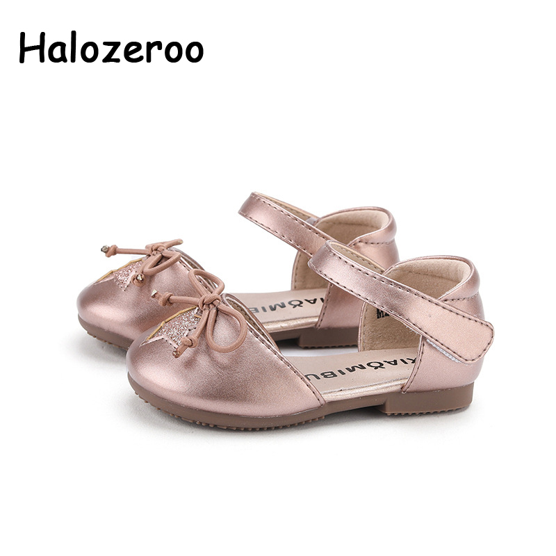 Spring New Baby Girls Bow Shoes Kids Star Dance Shoes Children Pink Leather Flats Toddler Princess Brand Shoes Mary Jane 2020