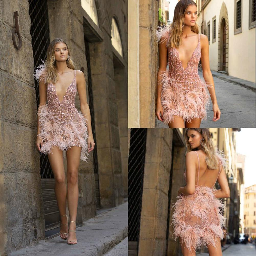 Sexy Short Prom Dresses Deep V Neck Lace Sequins Feather Formal Occasion Dress Mini Cocktail Party Beaded Backless Evening Gowns
