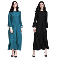 Fashion islamic long dress muslim womens kaftans arab turkey malay clothing full sleeve abaya dress plus size M XXL