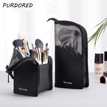 PURDORED 1 Pc Ständer Kosmetik Tasche für Frauen Klar Zipper Make-Up Tasche Reise Weiblichen Make-Up Pinsel Halter Organizer Toiletry Tasche