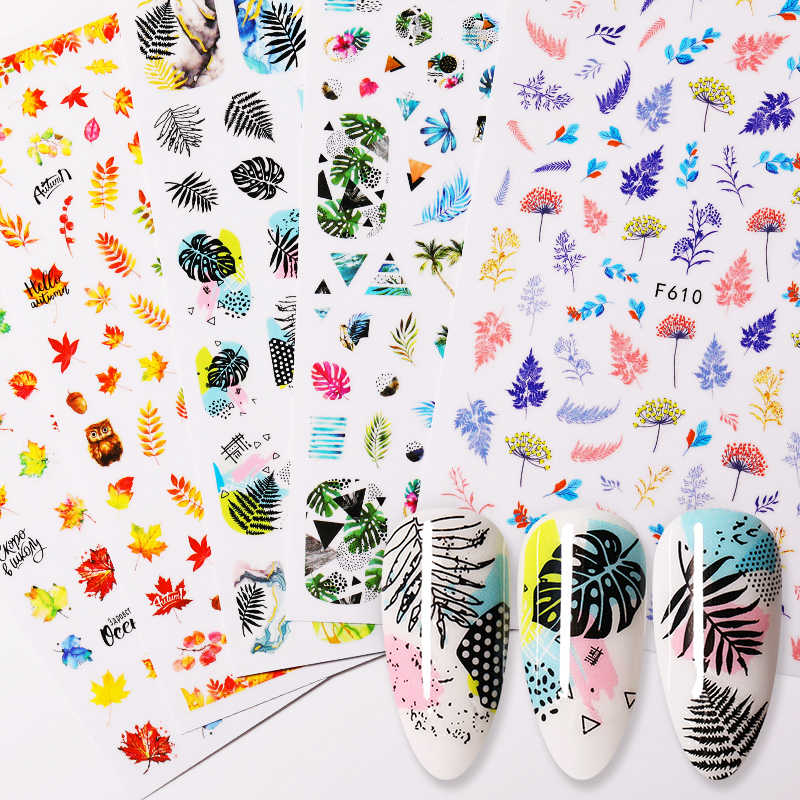 1 Vel Nail Water Decals Dier Bloem Blad Serie Zomer Slider Nail Art Transfer Sticker Manicure Nail Art Diy Decoratie